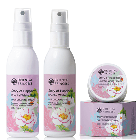 Oriental Princess Set Story of Happiness Oriental White Flower Body Cologne Spray 100ml + Hair Cologne Spray 100ml + Body Cologne Cream 50g